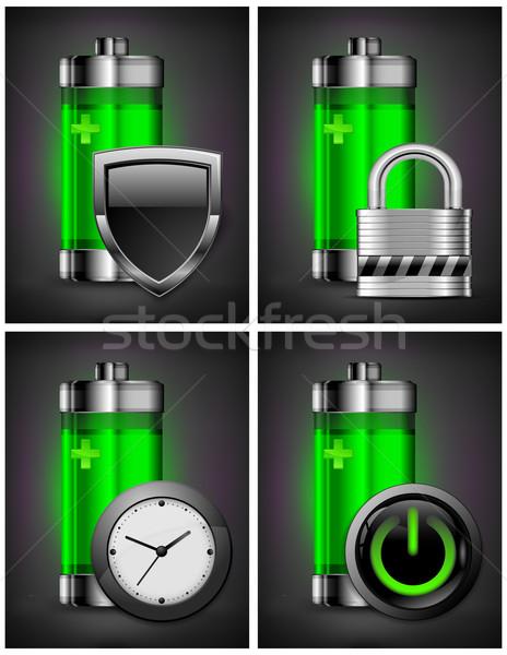 Batterij iconen symbool energie icon verschillend Stockfoto © creatOR76