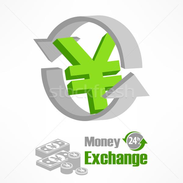 Yen simge yeşil ok para dizayn Stok fotoğraf © creatOR76