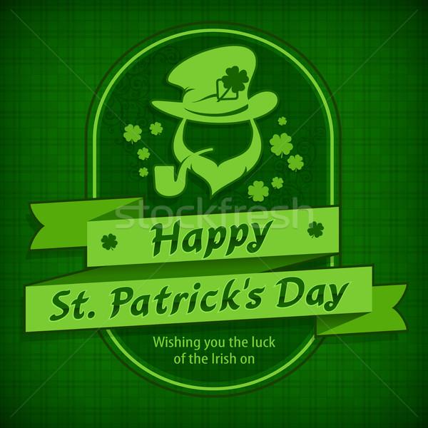 Leprechaun template in green & text Stock photo © creatOR76
