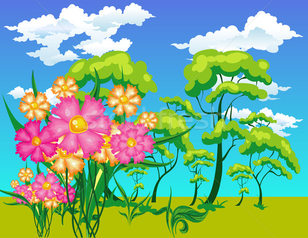Landscape with trees and flowers Stock photo © creatOR76