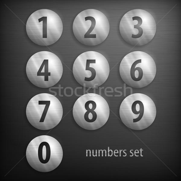 Ingesteld nummers knoppen aantal grijs ontwerp Stockfoto © creatOR76