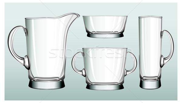 Zöld üveg teríték dekoratív tárgyak háztartás Stock fotó © creatOR76