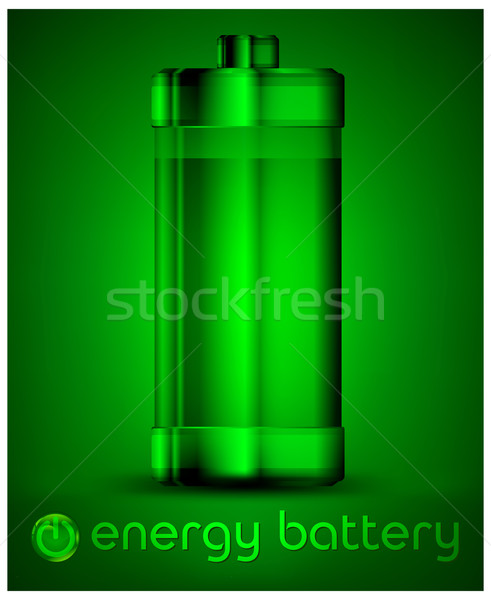 Energy battery in green & text Stock photo © creatOR76