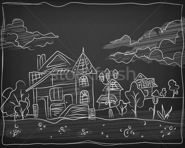 Kind krijt hand tekening landschap Blackboard Stockfoto © creatOR76