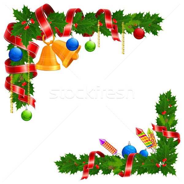 Noël angle guirlande cloche balle ruban Photo stock © creatOR76