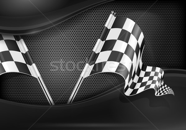 Stock photo: Checkered flags on mash background