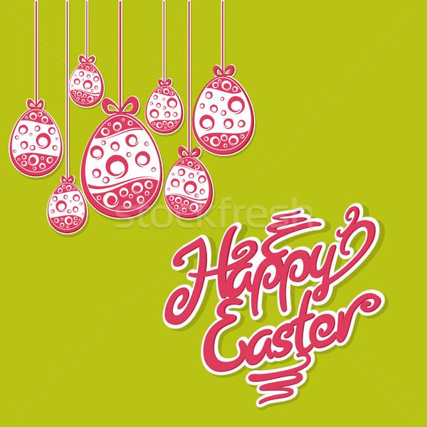 подвесной пасхальных яиц текста Пасху красный яйца Сток-фото © creatOR76