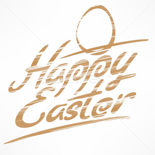 Kellemes húsvétot bronz kéz írott húsvét fehér Stock fotó © creatOR76