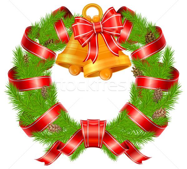 Christmas pine wreath with bells Stock photo © creatOR76