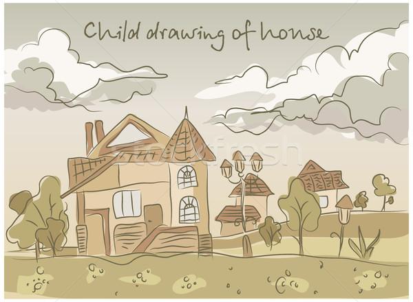 ребенка стороны рисунок пейзаж дома пастельный Сток-фото © creatOR76