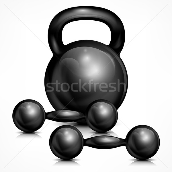 Metallic kettle bell and two dumbbells Stock photo © creatOR76