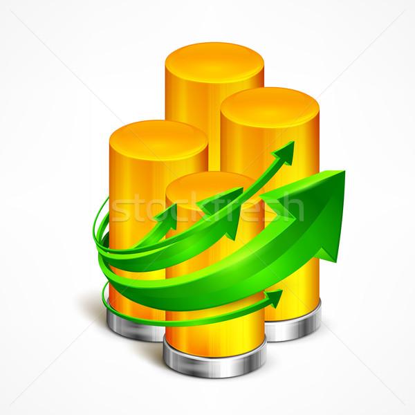 Statystyczny zielone arrow bar informacji Zdjęcia stock © creatOR76