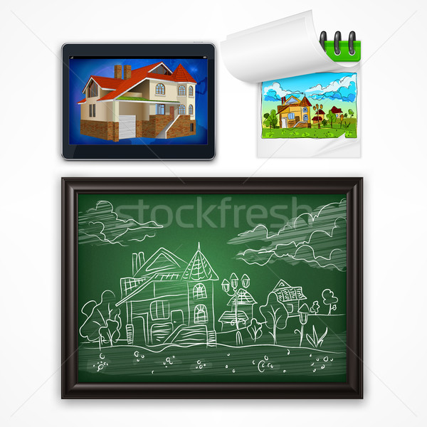 Child hand drawing landscape Stock photo © creatOR76
