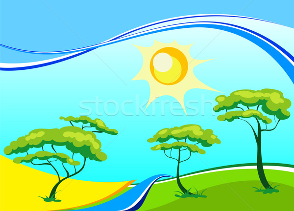 Vector landscape with trees and sun Stock photo © creatOR76