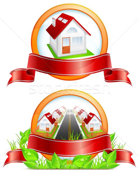 Round icon with houses Stock photo © creatOR76