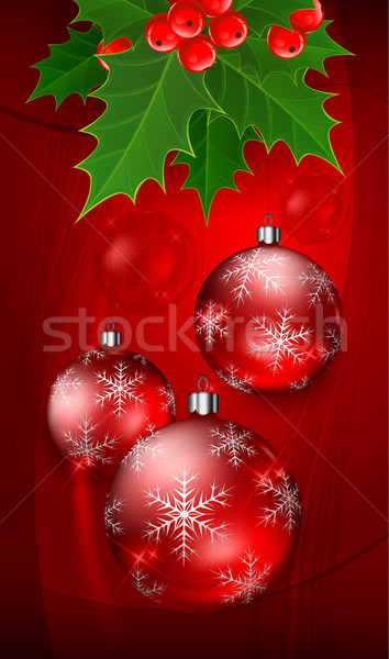 Christmas balls on red with holly berry Stock photo © creatOR76