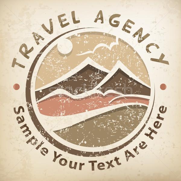 путешествия логотип Гранж символ стилизованный пейзаж Сток-фото © creatOR76