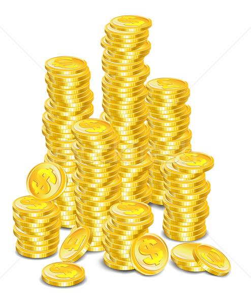 монетами деньги символ белый бизнеса Сток-фото © creatOR76