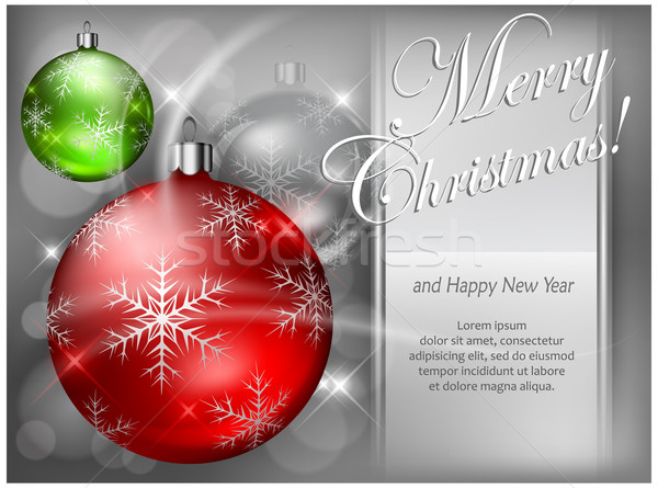Christmas color baubles with snowflake & text Stock photo © creatOR76
