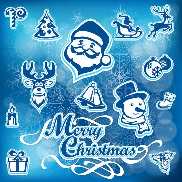 Рождества набор синий Новый год дизайна Сток-фото © creatOR76