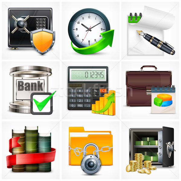 Stock photo: Set of business icons