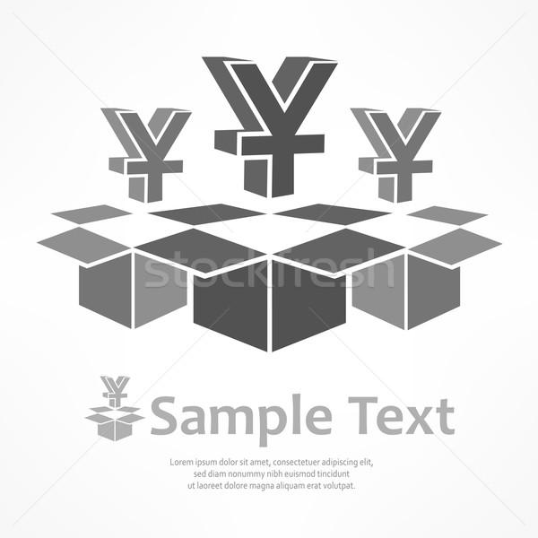 Yen feliratok dobozok nyitva szürke pénz Stock fotó © creatOR76