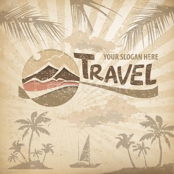 путешествия логотип пастельный символ стилизованный пейзаж Сток-фото © creatOR76