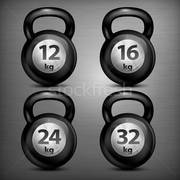 Four metallic kettle bells Stock photo © creatOR76