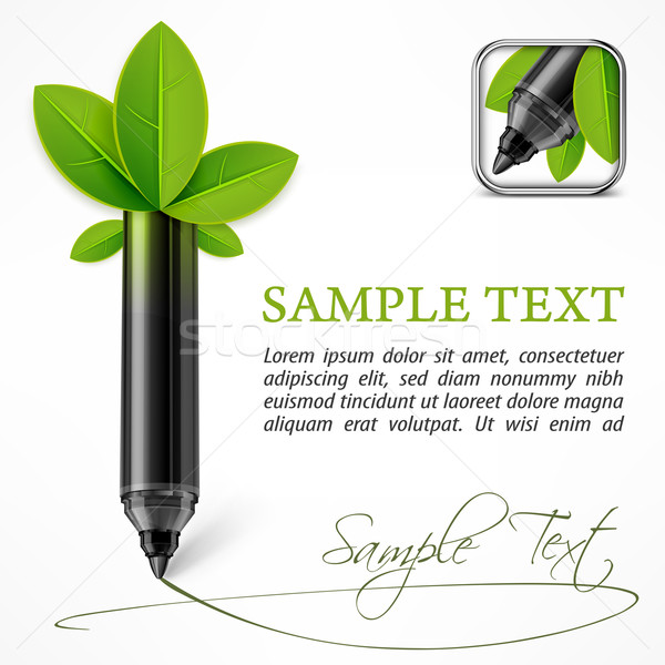 Ecology concept – felt pen with leaves  Stock photo © creatOR76
