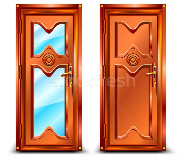 Deur gesloten hout glas klassiek ontwerp Stockfoto © creatOR76
