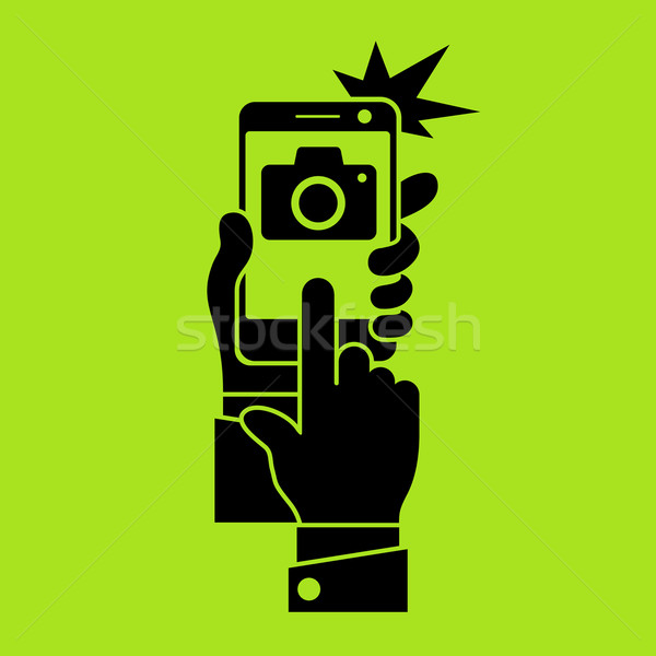 Selfie phone photo in green Stock photo © creatOR76