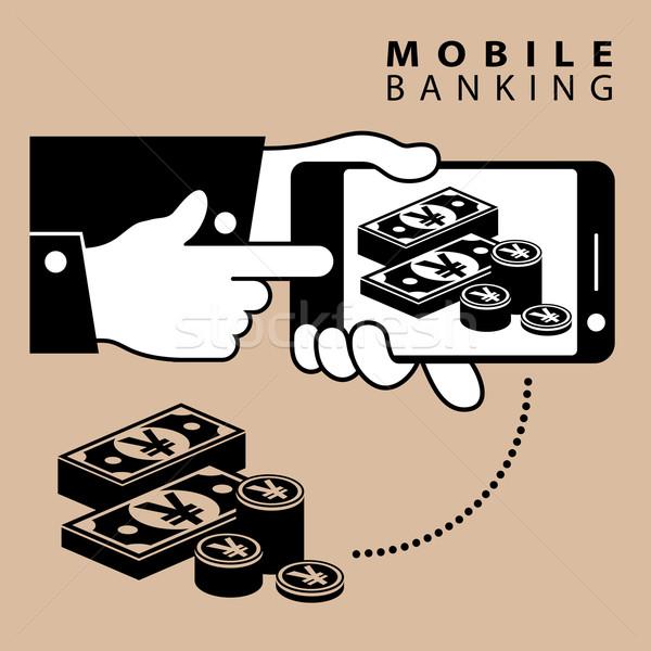 Komórkowych bankowego jen telefonu urządzenie pieniężnych Zdjęcia stock © creatOR76