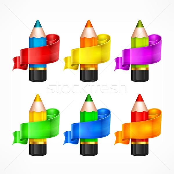 Pencil set & ribbon Stock photo © creatOR76