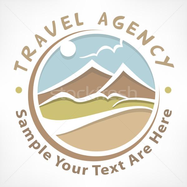 Viajar logotipo pastel símbolo estilizado paisagem Foto stock © creatOR76
