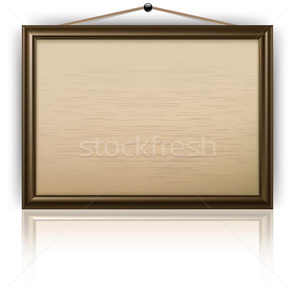 üres hirdetőtábla iroda fából készült izolált fehér Stock fotó © creatOR76