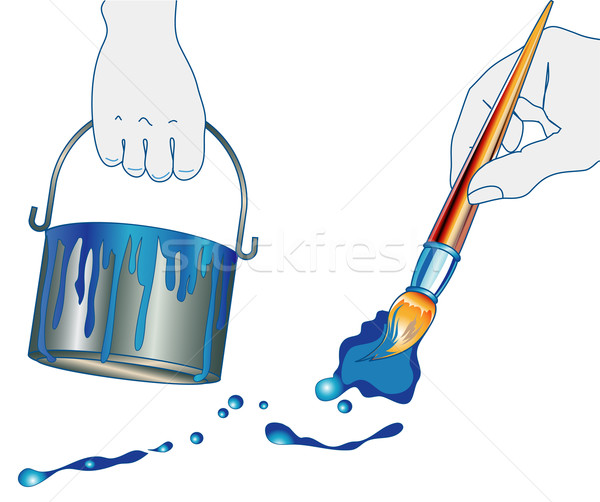 Hands of house painter Stock photo © creatOR76