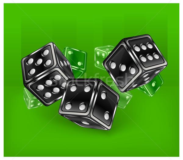Zöld kaszinó hazárdjáték siker játék kocka Stock fotó © creatOR76