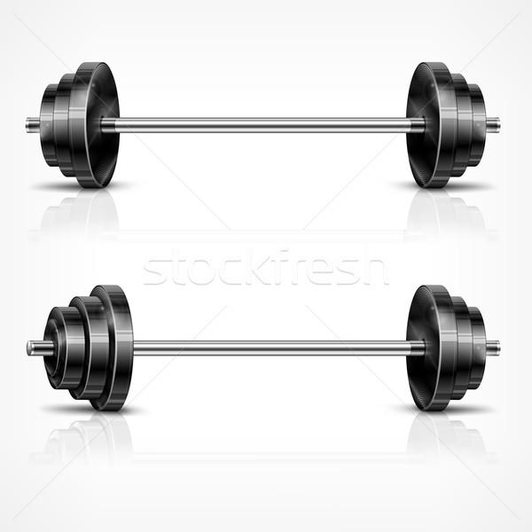 Metaliczny fitness biały moc stali Zdjęcia stock © creatOR76