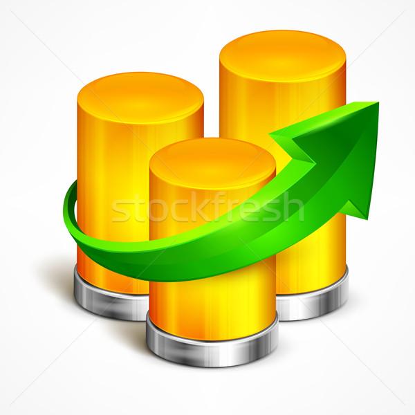 統計値 緑 矢印 バー 情報 ストックフォト © creatOR76