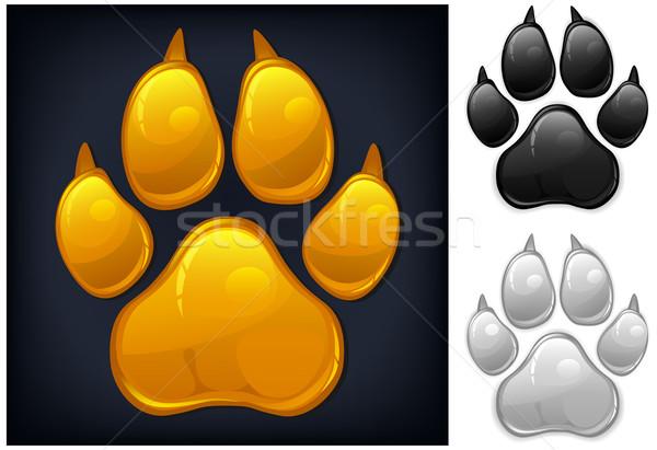 Amarelo pata animal imprimir isolado preto Foto stock © creatOR76