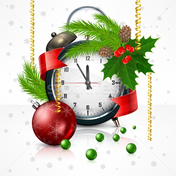 Новый год часы белый ягодные филиала Рождества Сток-фото © creatOR76