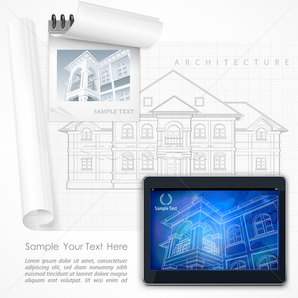Architectural detailed plan at tablet Stock photo © creatOR76