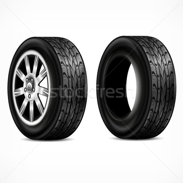 Rubber & wheels on white Stock photo © creatOR76