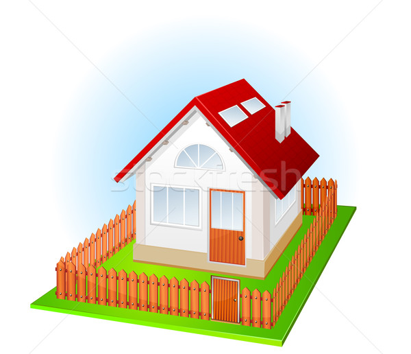 Small house with fence Stock photo © creatOR76