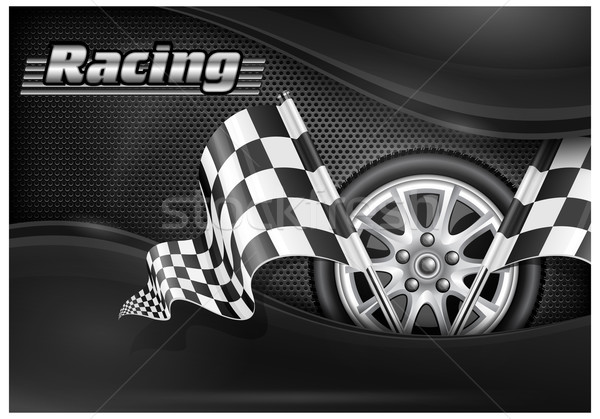 Checkered flags and wheel & text Stock photo © creatOR76