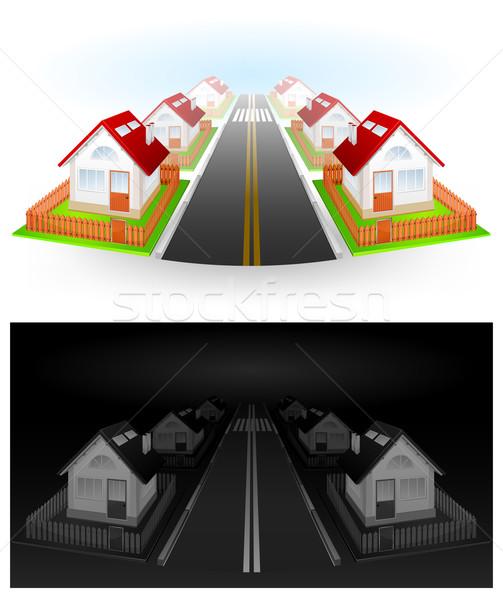 Straat huizen woon- Rood dak hek Stockfoto © creatOR76
