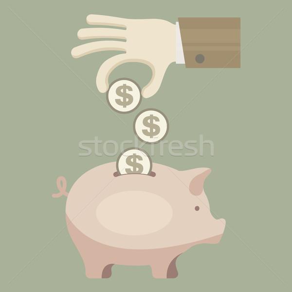 Malac érme bank kéz gazdaságos üzlet Stock fotó © creatOR76