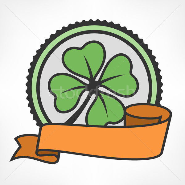 Green lucky four leaf Irish clover vintage Stock photo © creatOR76