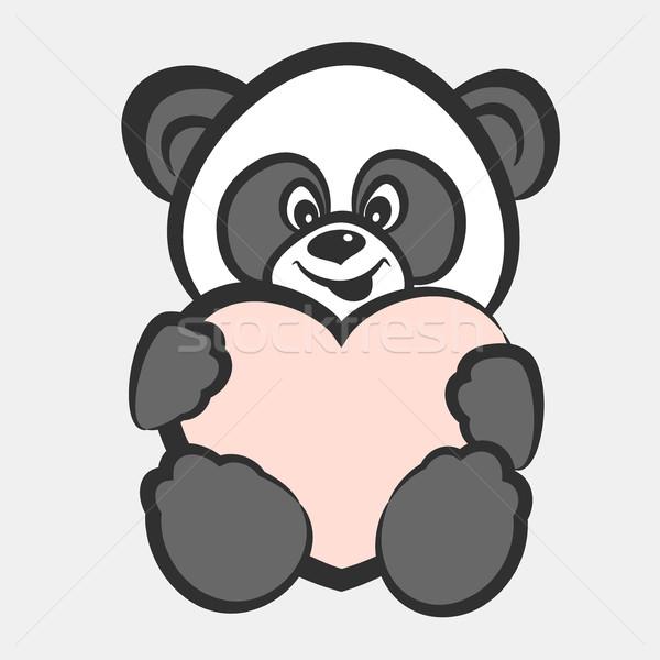 Panda beer speelgoed hart glimlachend geluk Stockfoto © creatOR76