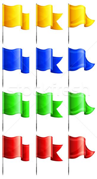 Rechteckige Fahnen Set Farbe Metall Fahnenmast Stock foto © creatOR76